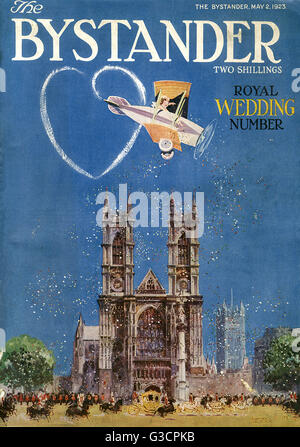 Front cover of The Bystander magazine's Royal Wedding Number, celebrating the marriage of Prince Albert of York - Stock Photo