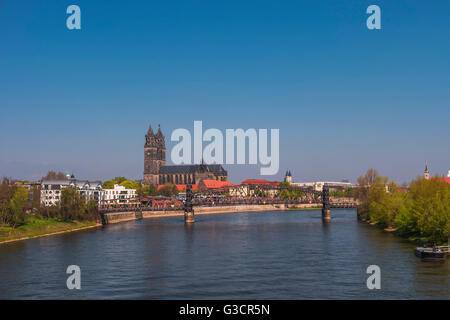 View on Magdeburg city and Elbe in Spring, Magdeburg, Germany, 2016 - Stock Photo