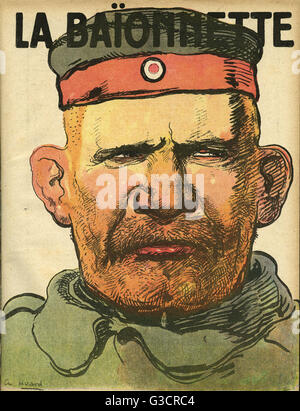 Front cover design, La Baionnette, an issue focusing on prisoners of war, with a portrait of an ugly German soldier. - Stock Photo