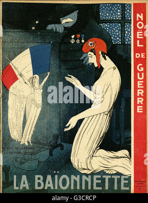 Front cover design, La Baionnette, wartime Christmas.  Showing two allegorical female figures: Marianne, representing - Stock Photo