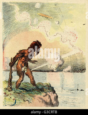 Cartoon, Six thousand years later, showing a prehistoric caveman seeing an airship in the sky as a development of - Stock Photo