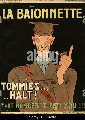 Front cover design for La Baionnette, an issue focusing on the British Tommy.  Showing a stereotypical English soldier - Stock Photo