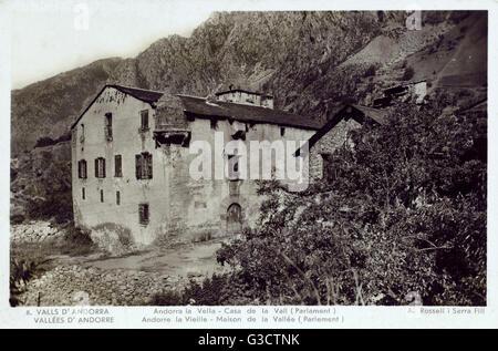Casa de la Vall - a historical house in Andorra la Vella, Andorra. It is the headquarters of the General Council - Stock Photo