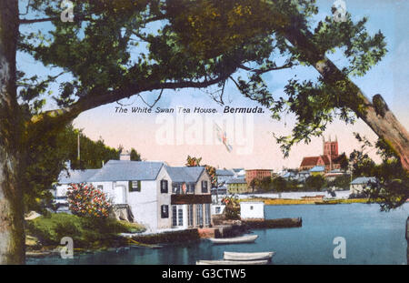 The White Swan Tea House, Hamilton, Bermuda.     Date: circa 1910s - Stock Photo