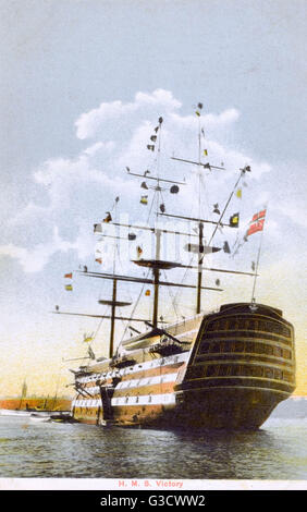 The HMS Victory - in Portsmouth Harbour. Fitted up as a Naval School of Telegrapha before becoming a floating signal - Stock Photo