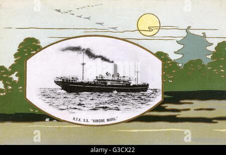 "N.Y.K. (Nippon Yusen Kaish line) Ocean Liner S.S. ""Hakone Maru"" - set within decorative border. Sunk during - Stock Photo"