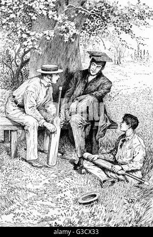Illustration from Tom Brown's School Days by Thomas Hughes. It is Tom Brown, grown into a young man nineteen years - Stock Photo