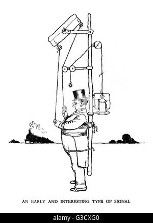 Vignette illustration, Railway Ribaldry by W Heath Robinson -- An early and interesting type of signal.      Date: - Stock Photo