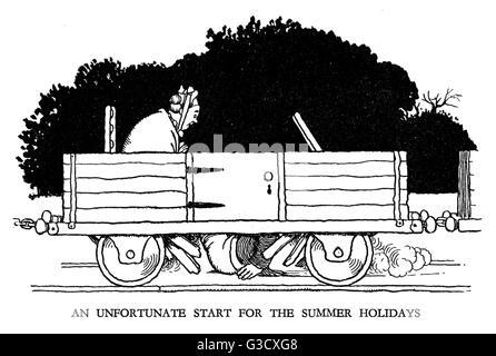Vignette illustration, Railway Ribaldry by W Heath Robinson -- An unfortunate start for the summer holidays.    - Stock Photo