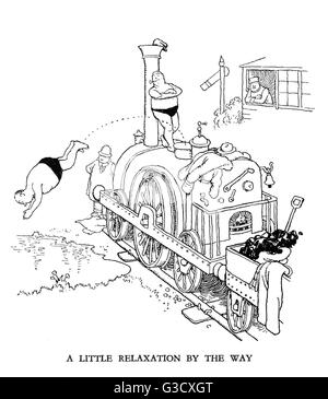 Vignette illustration, Railway Ribaldry by W Heath Robinson -- A little relaxation by the way.       Date: 1935 - Stock Photo
