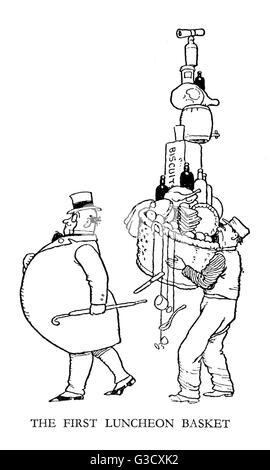 Vignette illustration, Railway Ribaldry by W Heath Robinson -- The first luncheon basket.      Date: 1935 - Stock Photo