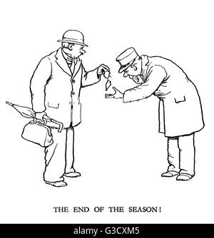 Vignette illustration, Railway Ribaldry by W Heath Robinson -- The end of the season!      Date: 1935 - Stock Photo