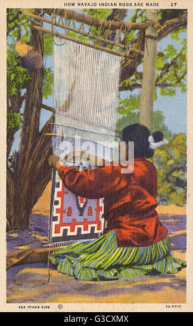 How Navajo Indian Rugs are made - USA     Date: circa 1930s - Stock Photo
