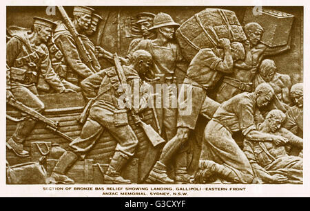 Bronze Bas relief from the Anzac War Memorial by Rayner Hoff - Hyde Park, Sydney, Australia - showing the landing - Stock Photo