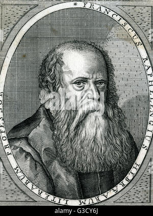 Franciscus Raphelengius (1539 - 1597) was a  Dutch scholar, printer and bookseller. He is the writer of the Arabic - Stock Photo