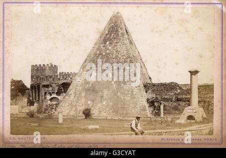 The Pyramid of Cestius (Piramide di Caio Cestio or Piramide Cestia)  in Rome, Italy - near the Porta San Paolo (also - Stock Photo