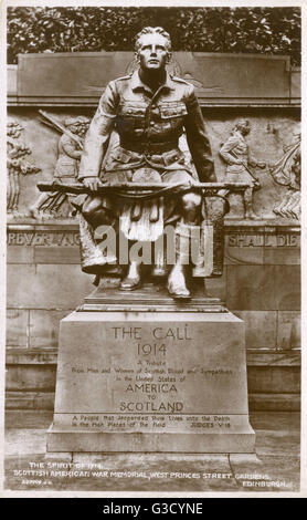Scottish American War Memorial (1927), West Princes Street Gardens, Edinburgh - The Spirit of 1914. The Sculptor - Stock Photo