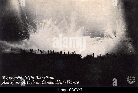 American attack on the German Front line - France - WW1     Date: circa 1917 - Stock Photo