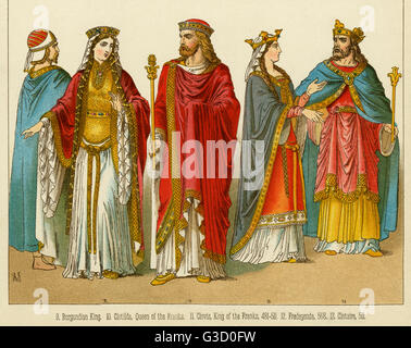 Clovis I, King of the Franks, (466 - 511), and his wife Clotilda, Queen of the Franks (475 - 545).     Date: - Stock Photo