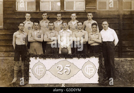 Group photo, CF (Club Francais) Paris football team, founded 1890, seen here celebrating their 25th anniversary. - Stock Photo