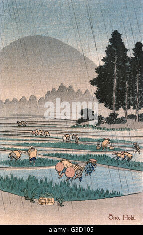 Utagawa Hiroshige: Reproduction of a print entitled: 'Province of Hoki: Distant View of Mount Oyama from Ono'. Ono - Stock Photo