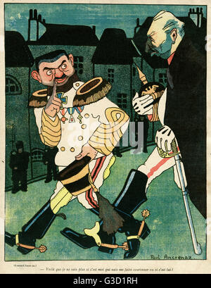 Cartoon, Two Emperors.  Showing Charles I of Austria (Karl Franz Joseph Ludwig Hubert Georg Otto Marie, left), who - Stock Photo