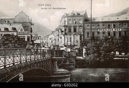 Bad Ems, Rheinland Pfalz, Germany - Bridge over the River Lahn and Bahnhofstrasse (Railway Station Street).     - Stock Photo