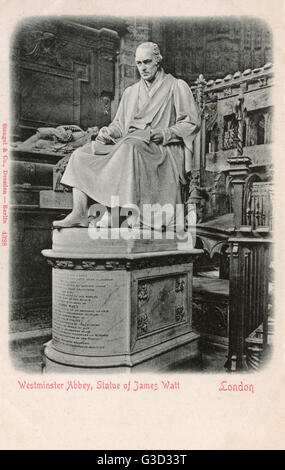 Statue of James Watt (1736-1819), Scottish inventor and mechanical engineer in Westminster Abbey, London.     Date: - Stock Photo