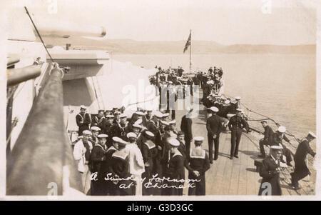 HMS Marlborough - A Sunday forenoon at Canakkale. HMS Marlborough was an Iron Duke-class battleship of the British - Stock Photo
