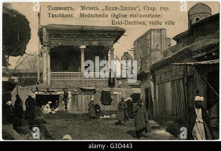 Tashkent, Uzbekistan - Kukeldash Madrasa Islamic School.     Date: circa 1910s - Stock Photo