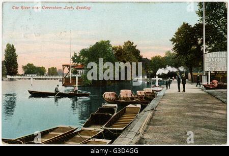 The River Thames near Caversham Lock, Reading.     Date: 1910 - Stock Photo