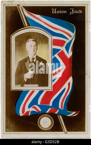 Union Jack Flag - Joseph Chamberlain (1836-1914) portrait (inset).     Date: 1906 - Stock Photo