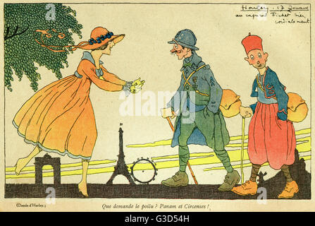 Cartoon, On leave in Paris. A pretty young woman welcomes a soldier in Paris on leave.      Date: 1917 - Stock Photo