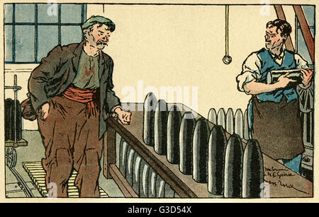 Cartoon, two men working in a French munitions factory. One man comments to his colleague: Be careful with that - Stock Photo
