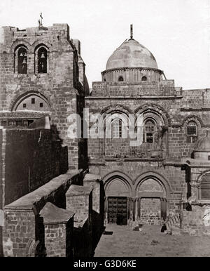 Church of the Holy Sepulchre Jerusalem, circa 1880s.     Date: circa 1880s - Stock Photo