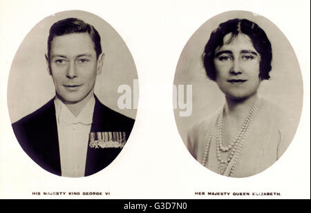 Portraits of King George VI (1895-1952) and Queen Elizabeth (1900-2002).     Date: circa 1936 - Stock Photo
