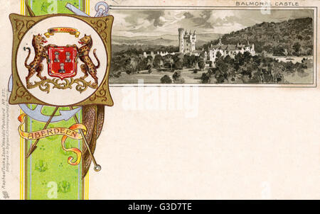 The Coat of Arms of Aberdeen and view of Balmoral Castle     Date: circa 1900 - Stock Photo