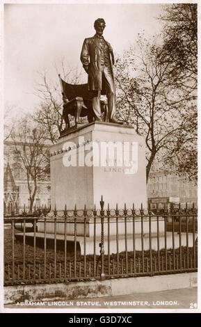 Statue of US President Abraham Lincoln (1809-1865), Parliament Square, Westminster, London (now re-located slightly - Stock Photo