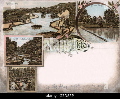 Ilkley - West Yorkshire - Various scenes in the locality including Bolton Abbey, The Ilkley Tarn (small lake), Strid - Stock Photo
