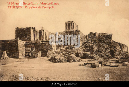 The Acropolis, Athens, Greece - The Propylaea.     Date: circa 1905 - Stock Photo