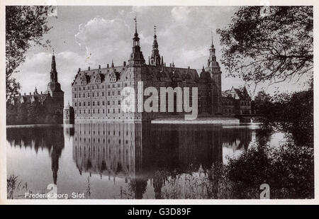 Frederiksborg Castle ('Slot') - a palatial complex in Hillerod, Denmark, built as a royal residence for King Christian - Stock Photo
