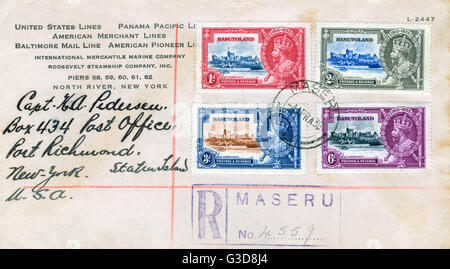 Envelope with stamps from Basutoland (now Lesotho), South Africa, postmarked Maseru.      Date: 1936 - Stock Photo