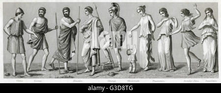Ancient Greek costume. From left to right: chiton, exomis, man and woman in himation, chlamys, child's costume, - Stock Photo