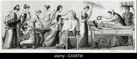 Ancient Greek costume, from left to right: seven women carrying out daily activities, two women and a man mourning - Stock Photo