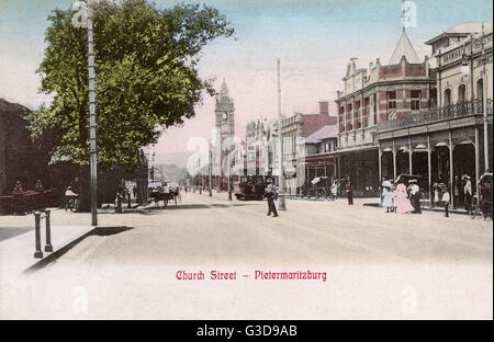 Church Street, Pietermaritzburg, Natal Province, South Africa, with the City Hall in the middle distance.      Date: - Stock Photo