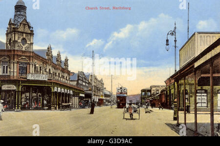 Church Street, Pietermaritzburg, Natal Province, South Africa, with various shops and stores.      Date: circa 1908 - Stock Photo