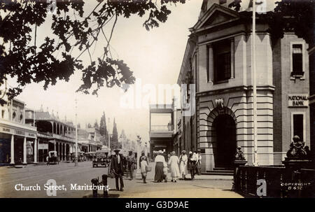 Church Street, Pietermaritzburg, Natal Province, South Africa, with the National Bank on the right.      Date: circa - Stock Photo