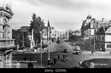 Church Street, crossing with Commercial Road, Pietermaritzburg, Natal Province, South Africa. The Anglo-Zulu War - Stock Photo