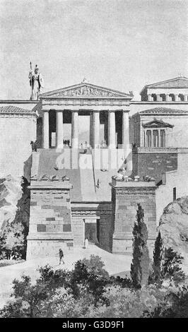 The Propylaea, or gateway to the Acropolis in Athens, were composed entirely of Pentelic marble, and poised beyond - Stock Photo