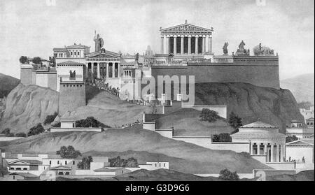 Depiction of the acropolis in ancient Athens, with the Propylaea, the bronze statue of Athena Promachos and the - Stock Photo
